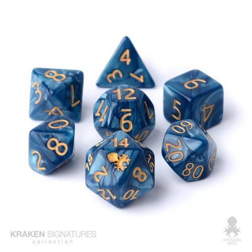 Kraken Signature's 7pc Cadet Blue with Gold Ink Polyhedral RPG Dice Set