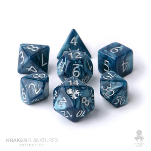 Kraken Signature's 7pc Cadet Blue with Silver Ink Polyhedral RPG Dice Set