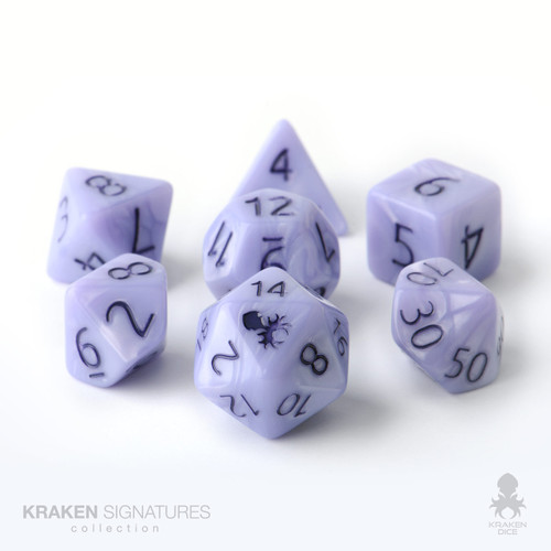 Kraken Signature's 7pc Periwinkle with Purple Ink Polyhedral RPG Dice Set