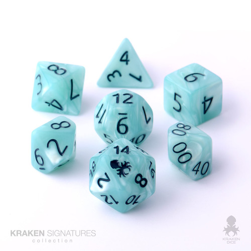Kraken Signature's 11pc Light Aqua with Dark Blue Ink Polyhedral RPG Dice Set