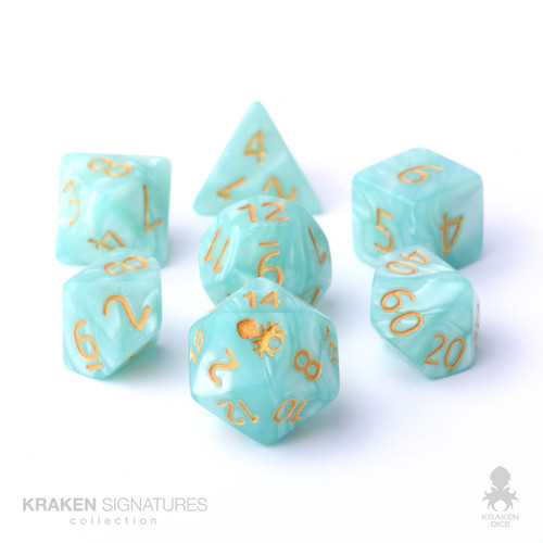 Kraken Signature's 7pc Light Aqua with Gold Ink Polyhedral RPG Dice Set
