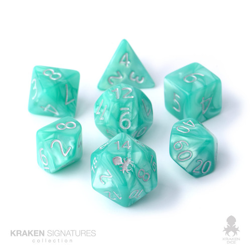 Kraken Signature's 7pc Aqua with Silver Ink Polyhedral RPG Dice Set