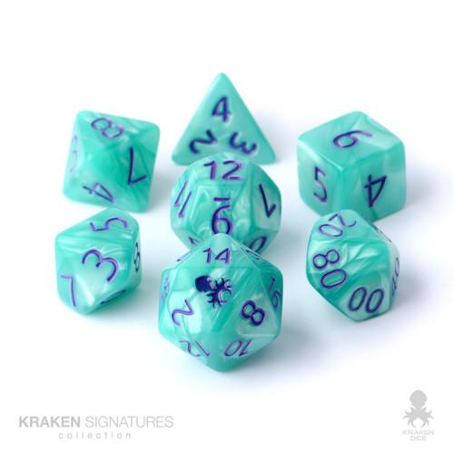 Kraken Signature's 7pc Aqua with Purple Ink Polyhedral RPG Dice Set