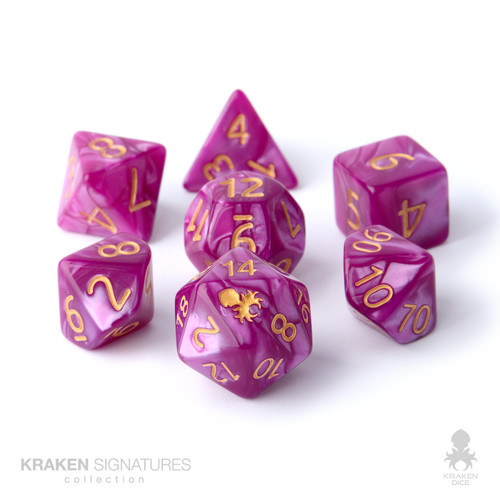 Kraken Signature's 11pc Tyrian with Gold Ink Polyhedral RPG Dice Set