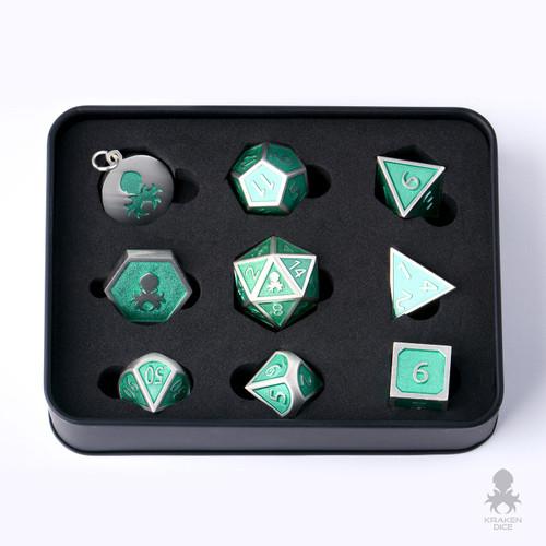 8pc Teal Enamel Polyhedral Metal Dice For RPG