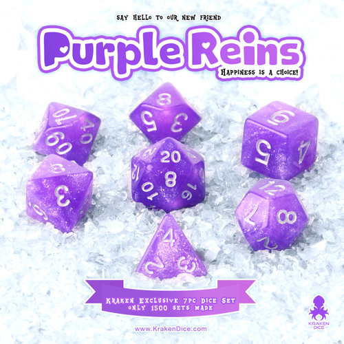 Purple Reins 7pc Acrylic Polyhedral Dice Set with Silver Ink