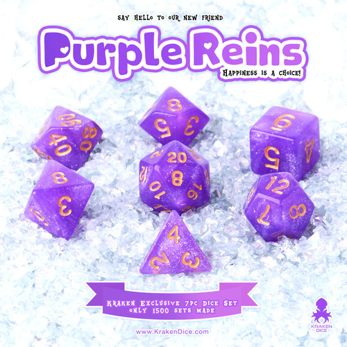 Purple Reins 7pc Acrylic Polyhedral Dice Set with Gold Ink