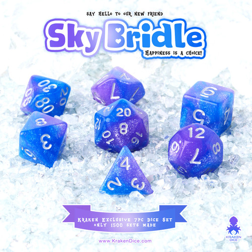 Sky Bridle 7pc Acrylic Polyhedral Dice Set with Silver Ink