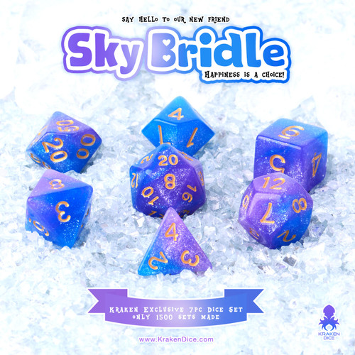 Sky Bridle 7pc Acrylic Polyhedral Dice Set with Gold Ink