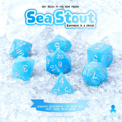 Sea Stout 7pc Acrylic Polyhedral Dice Set with Silver Ink