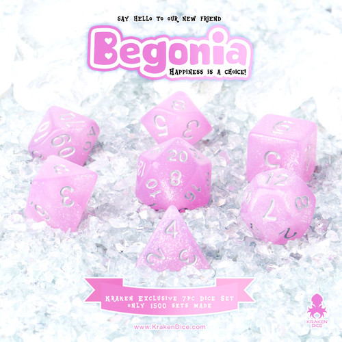 Begonia 7pc Acrylic Polyhedral Dice Set with Silver Ink
