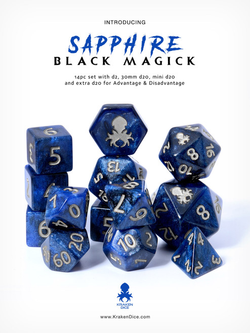 Sapphire Black Magick 14pc Dice Set With Silver Ink