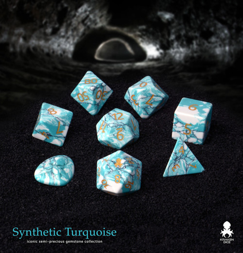 Synthetic Turquoise Semi-Precious 8 pc Glass Dice Set for RPGs