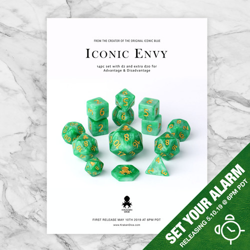 Iconic Envy 12pc Dice Set With Gold Ink