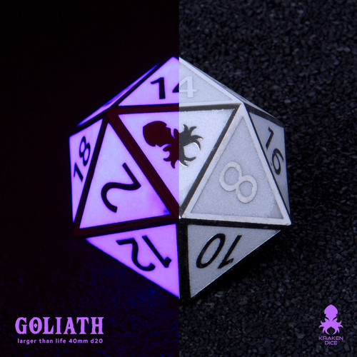 Purple Glow in the Dark 40mm Single D20 Goliath