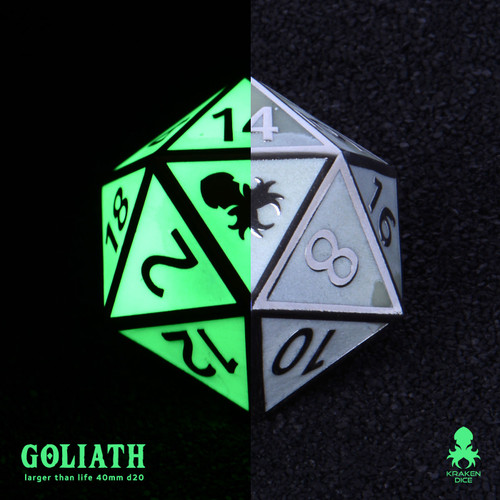Green Glow in the Dark 40mm Single D20 Goliath