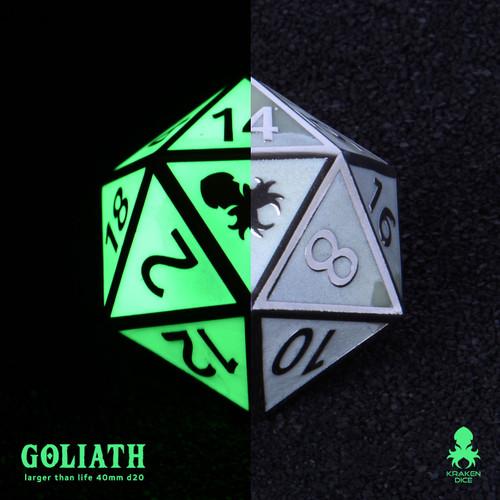 Green Glow in the Dark 40mm Single D20 Goliath