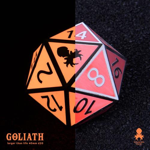 Orange Glow in the Dark 40mm Single D20 Goliath