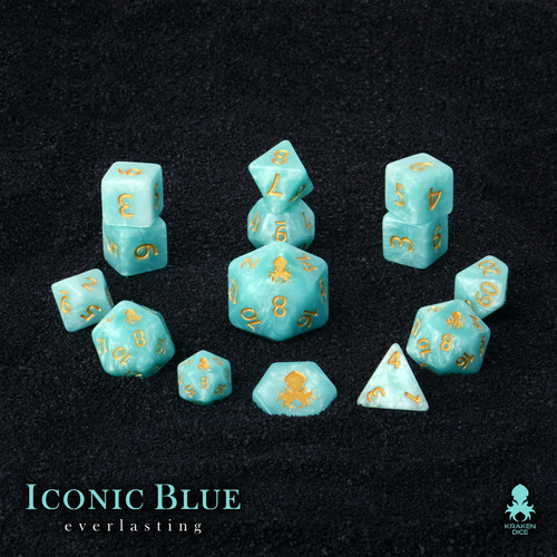 Iconic Blue: Everlasting 14pc Dice Set With Gold Ink