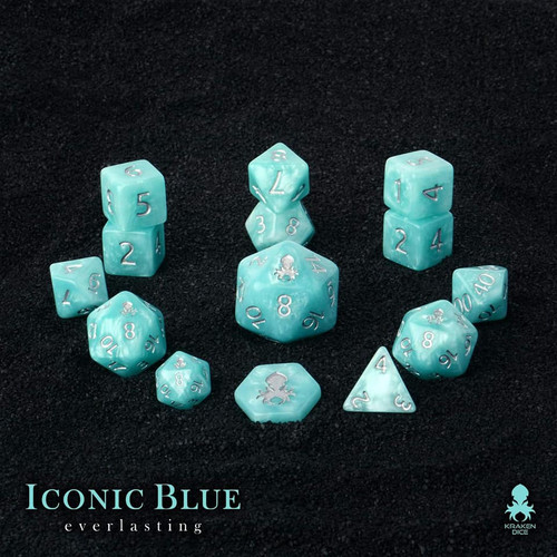 Iconic Blue: Everlasting with Silver Ink 14pc Dice Set