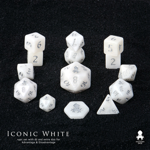 Iconic White Silver Ink 12pc DnD Dice Set With Kraken Logo
