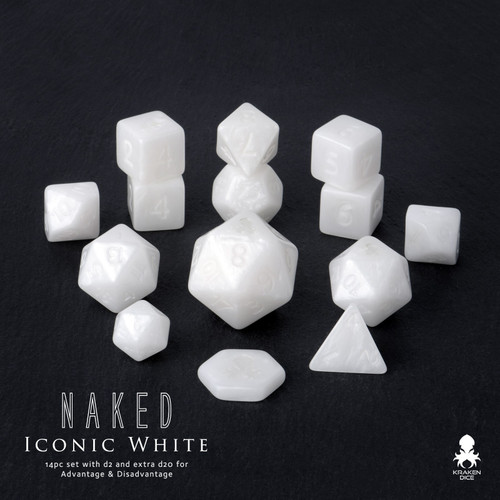 Naked Iconic White 14pc DnD Dice Set With Kraken Logo