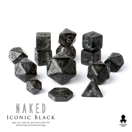Naked Iconic Black 12pc DnD Dice Set With Kraken Logo *Image shown with optional 15mm and 30mm d20 add on