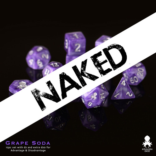 Naked Grape Soda 14pc DnD Dice Set With Kraken Logo