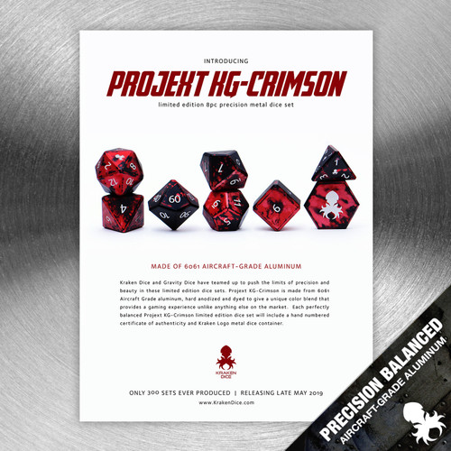 Projekt KG-Crimson Precision Aluminum Dice Set