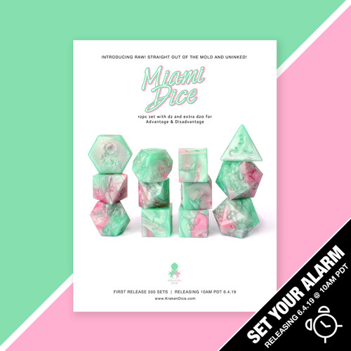 RAW Miami Dice RPG 12pc Dice Set
