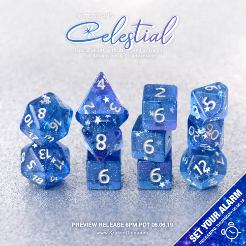 Celestial 14pc Silver Ink Dice Set With Kraken Logo