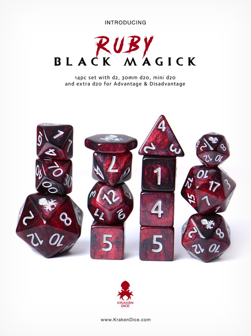 Ruby Black Magick Silver Ink 12pc DnD Dice Set With Kraken Logo