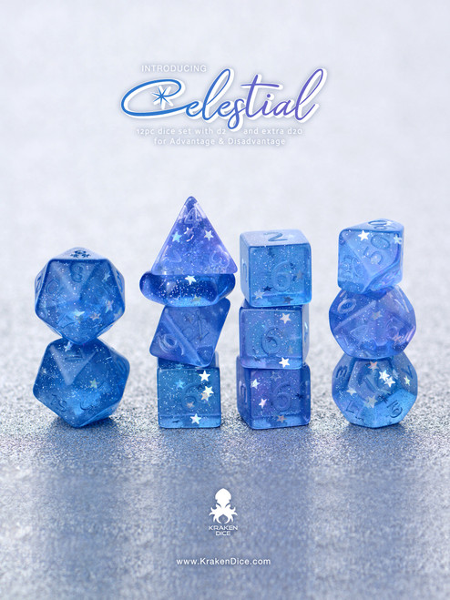 Celestial 14pc Naked Dice Set With Kraken Logo