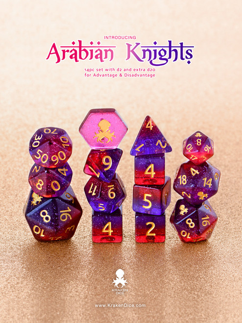 Arabian Knights 12pc DnD Dice Set With Kraken Logo