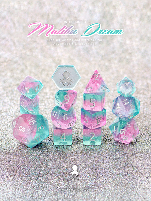 Malibu Dreams 12pc DnD Dice Set With Kraken Logo