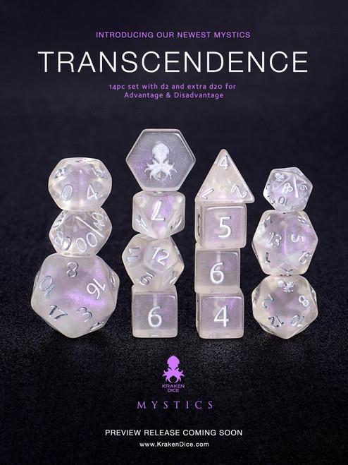 Transcendence Silver Ink Mystics 14pc Dice Set With Kraken Logo