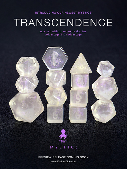 Transcendence Naked Mystics  Dice Set With Kraken Logo
