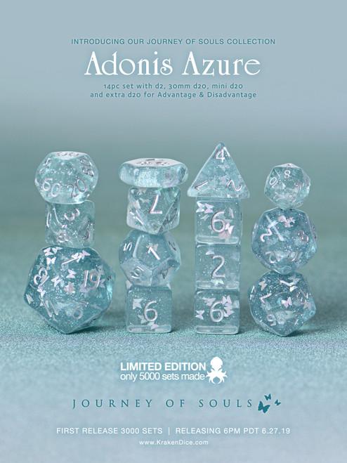 Adonis Azure 14pc Limited Edition Dice Set