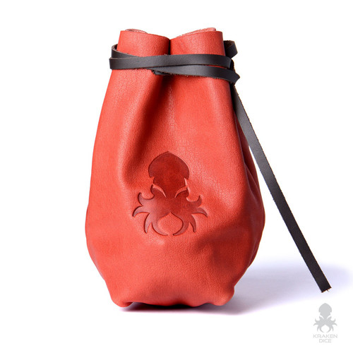 Freestanding Large Dice Bag In Orange Leather