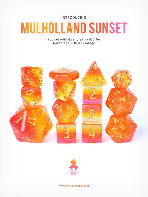 Mulholland Sunset Dice Set With Kraken Logo