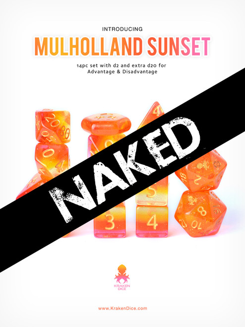 Mulholland Sunset No Ink 14pc Dice Set With Kraken Logo