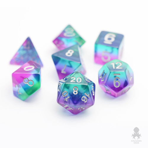 Mermaid Glass Translucent Dice Set With Silver Numbers