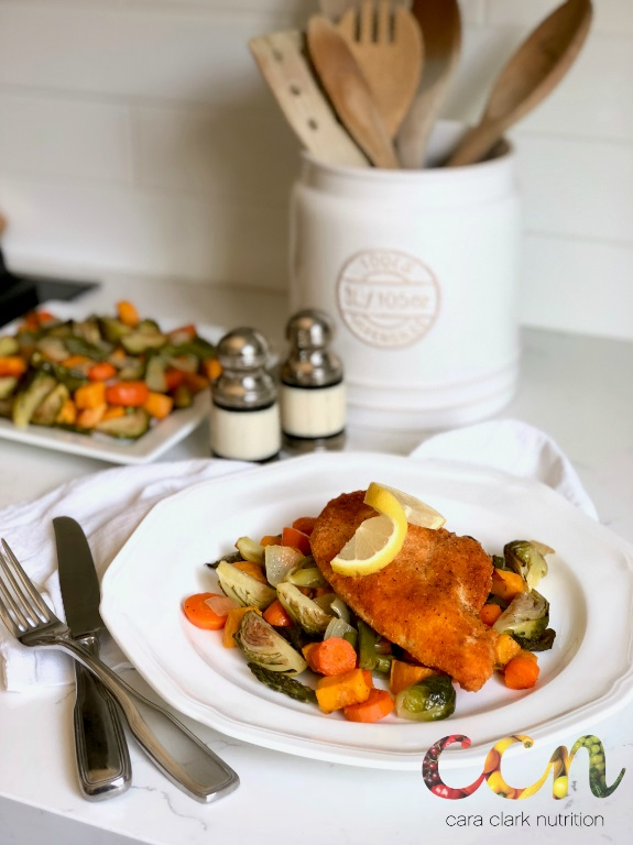 Baked Almond Crusted Chicken and Roasted Fall Veggies