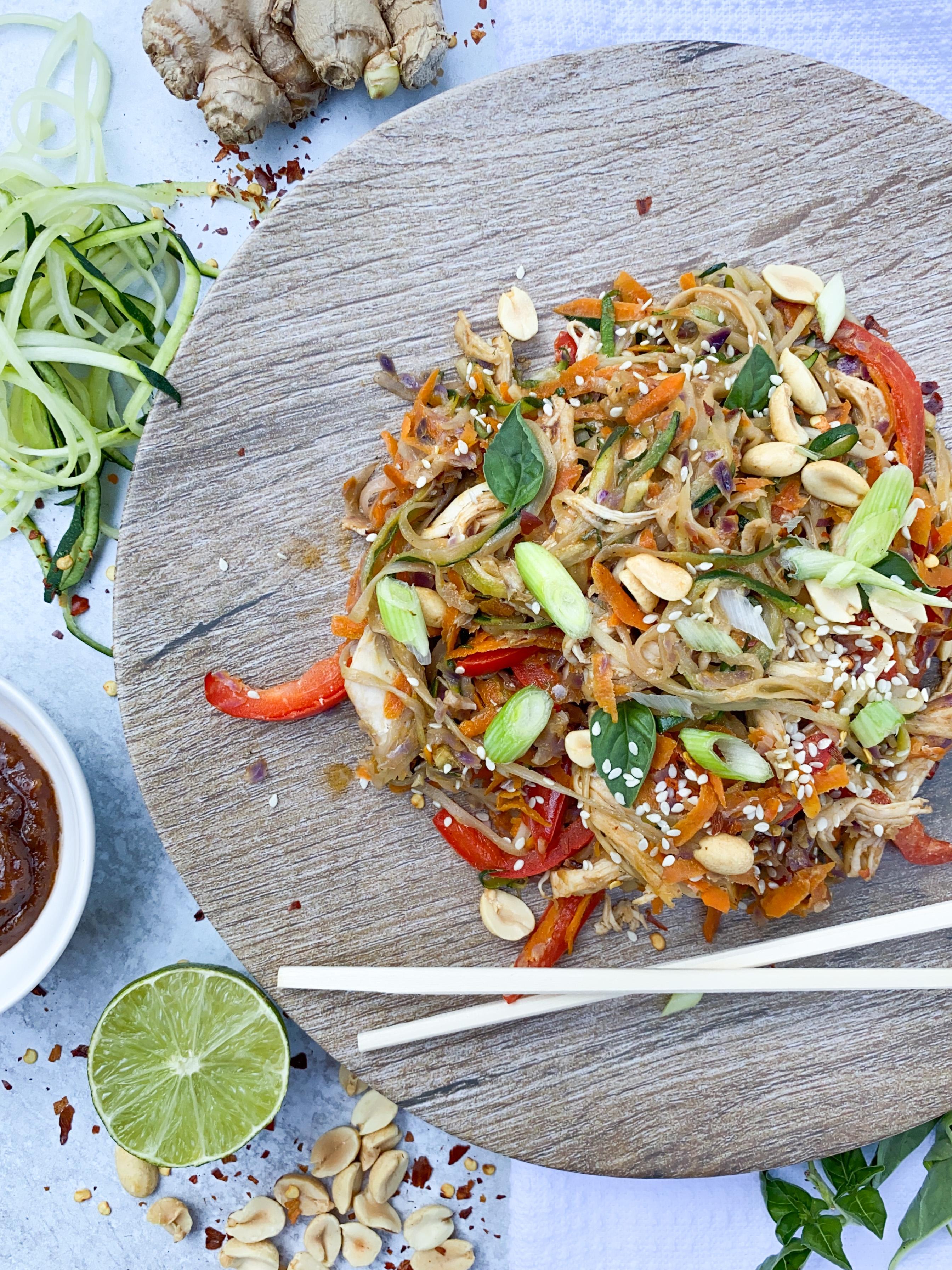 Thai Chicken Peanut Zoodles
