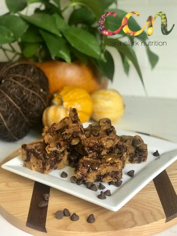 Pumpkin Chocolate Chickpea Bars