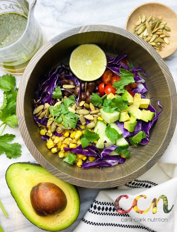 Purple Santa Fe Salad with Cilantro Lime Dressing