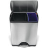 simplehuman Brushed Stainless Steel Rectangular Duo Recycle Pedal Bin