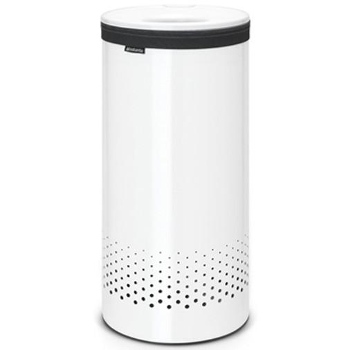 Brabantia 35 Litre White Laundry Bin with White Plastic Lid