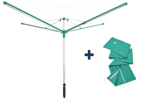 Leifheit Linomatic 600 Deluxe Outdoor Rotary Clothes Airer Plus 60M Cover