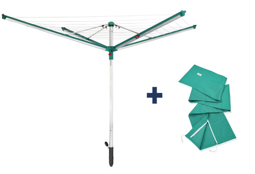 Leifheit Linomatic 500 Deluxe Outdoor Rotary Clothes Airer Plus 50M Cover
